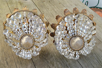 Beautiful pair of antique brass and crystal chandelier ceiling lights circa.1930