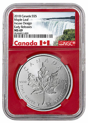 2018 Canada 1 oz Silver Maple Leaf - Incuse $5 NGC MS69 ER Red PRESALE SKU52140