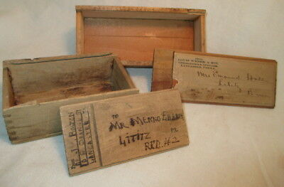 Antique OPTICIAN WOOD BOXES for MAILING ~  handmade c1900s ~ T & G w/ SLIDE TOPS