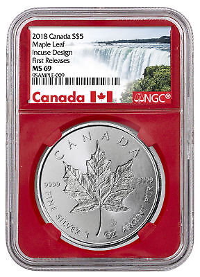 2018 Canada 1 oz Silver Maple Leaf -Incuse $5 NGC MS69 FR Red SKU52141