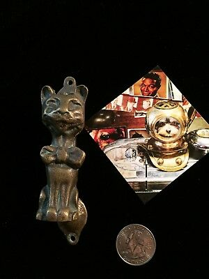 Vintahe Brass Small Door Knocker Cat In A Bowtie