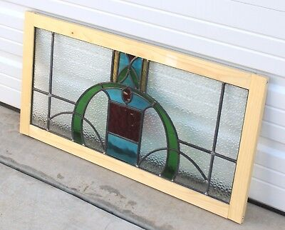 Antique English 5-Color Leaded Stained Glass TRANSOM Window Reframed Art Deco #1