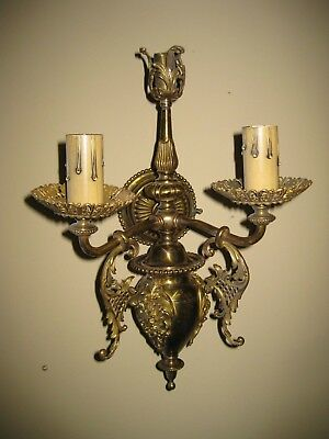 Antique Brass Rococo Style 3 Light Gas Electric Wall Sconce