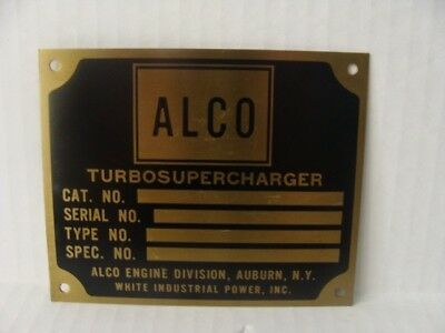 Vintage Brass Plate Alco Turbosupercharger Auburn, Ny White Industrial Power New