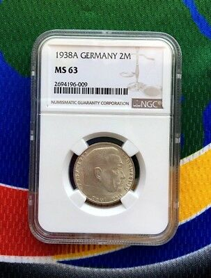 NGC MS 63 1938 A 2 mark German WWII Silver Coin Third Reich Reichsmark 5*