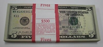 2013 New Uncirculated Five 5 Dollar Bills Pack FRB Dallas Notes Full Strap MK-B