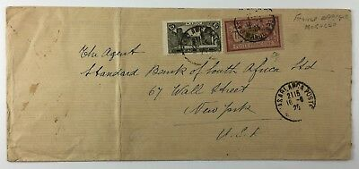 French Morocco Cover To USA Bank of British West Africa Casablanca Stamp 1925