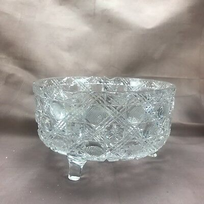 American Brilliant Period ABP Cut Crystal Diamonds Dots Stars Footed Bowl