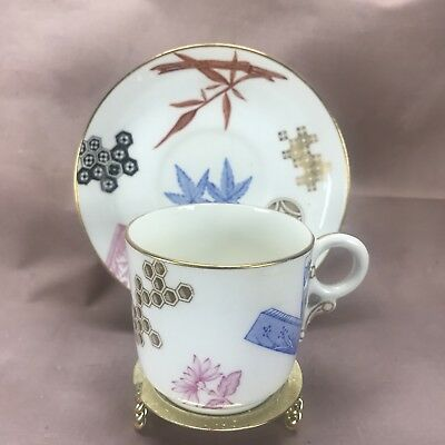 RARE!!! 1879 Royal Worcester Aesthetic Movement Cup & Saucer B43