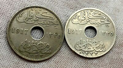 Egypt 2 Coins - 10 Milliemes 1917 H - Occupation Coinage