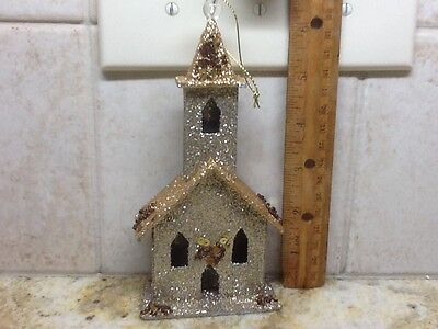 Cardboard Gold Silver Sparkle Chuch House Christmas Ornament Decoration Putz?