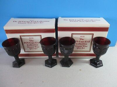 4 vintage Avon 1876 Cape Cod elegant wine glass set & boxes