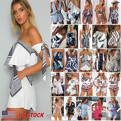 Womens Boho Jumpsuit Playsuit Romper Summer Bodycon Party Beach Shorts Dress NEW