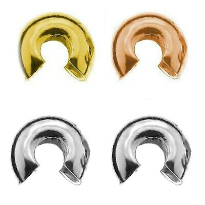 24K Gold Plated Sterling Silver 4mm Crimp Cover Bead PK10 PK50