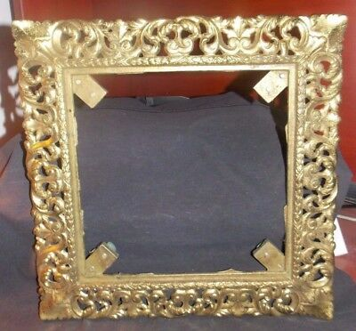 """Lg. Vintage Ornate Baroque Solid Brass Picture Frame! 14"""" X 14"""" Weighs 5 1/2 Lbs"""