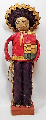 Vtg Folk Art Woven Straw Basket Man Mexican Cowboy Doll Figurine Primitive Hat