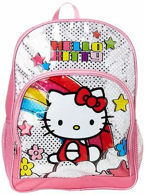 Hello Kitty Back Pack Kids Backpack Pink Silver Glitter Backpack 16 inches