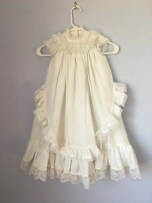 Gorgeous HANDMADE Long Length White Christening Gown Dress 6-12 Mo