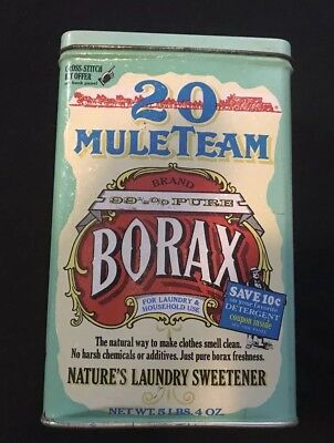 "20 Mule Team 6.75"" Borax Metal Tin Vintage Reproduction Fast Shipping!"