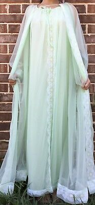 Vintage 60s Miss Elaine Peignoir Set Sheer Mint Green Double Chiffon