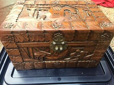 Antique Vintage Carved Wood Document Box  Asian Oriental Box Original Patina
