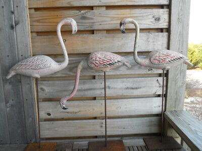 Three Vintage Large, mid century modern, heavy aluminum flamingos, custom stands