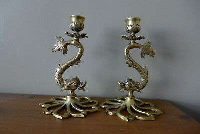 Vintage Antique Brass Fish Koi Shape Candlestick Holder Pair Collector 17-08