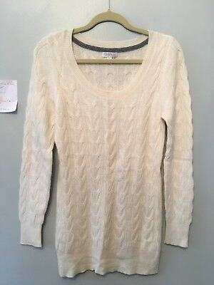 a pea in the pod cashmere cream cable knit sweater size L Maternity