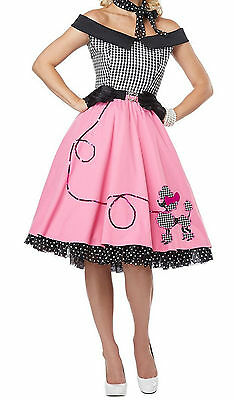 Sexy 1950's Rockabilly Rock N Roll Fancy Dress Pink Poodle Skirt, Check Top