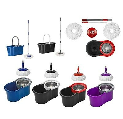 Easy Floor Mop Microfiber Spinning Magic Spin Mop W/Bucket 2 Heads Rotating 360°