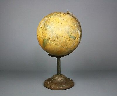 "Antique Franklin Terrestrial Globe, Nims & Knight, Cast Iron, 19th C., 12"" D"