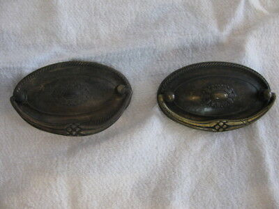 Vintage Set Of Keeler Brass Co Oval Brass Drawer Pulls