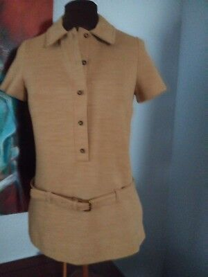 Vintage Two Piece Tan Pant Suit-Mary Tyler Moore-Size 10-The Villager