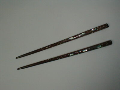 ANTIQUE CHINESE CHOPSTICKS - CINNABAR w/ MOTHER of PEARL or ABALONE INLAID