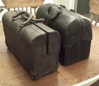 2 Vintage Black Leather Medical Doctor Bags one is an EMDEE by Schell
