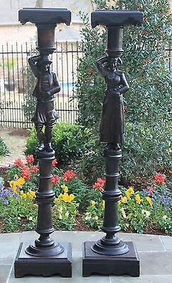 Antique French PAIR Breton Figural Pedestals DisplayTables Plant Stands RARE