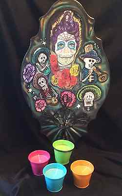 Day of the Dead w/ Mariachi Band- Wall Plaque- Cross w/candles-Halloween OOAK