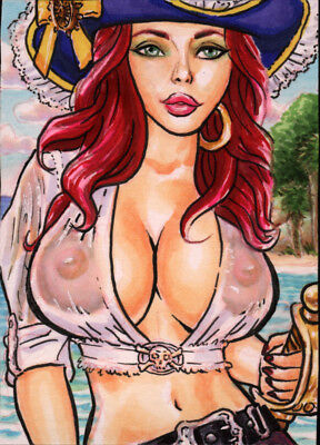 WET Tee PIRATE BUCCANEER PINUP GIRL ORIGINAL ART SKETCH CARD SEXY ACEO FANTASY