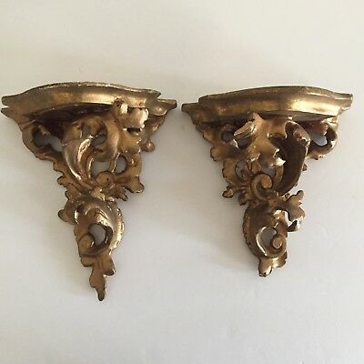 Pair Of Vintage Antique Florentine Italy Maria Rose Gilded Wood Wall Sconces