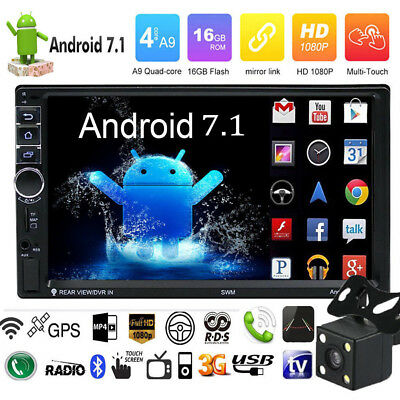 Quad Core 2DIN 7'' Android 7.1 Car GPS Navi WiFi MP5 Player BT Rear View Camera