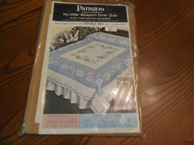 Vintage Paragon Stamped Full Quilt Top New Ready to Embroidery Blossom Time Gold