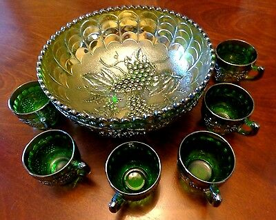 "Vintage Imperial Glass Green Grape 7 p. Punch Set Marked ""IG"" Fine Condition"