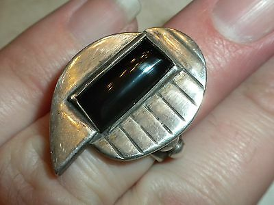 AUTHENTIC - MACHINE AGE DESIGNER - 1920's VINTAGE ART DECO STERLING SILVER RING
