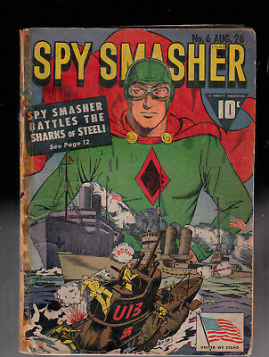 Spy Smasher 6 WWII cover Married CF Glue Tape Chip out of Back Cover Miller