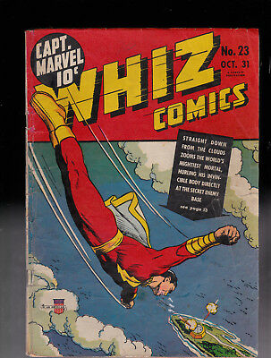 Whiz Comics 23 Captain Marvel Tape Glue Stain Color touch Raymond Miller