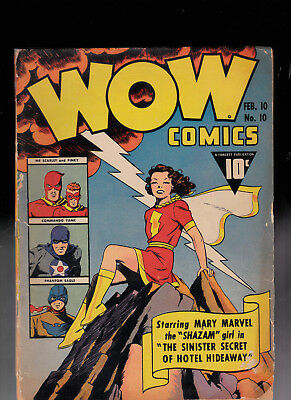 Wow Comics 10 Mary Marvel Tape Glue Restapled Chip out of Back Cover Miller