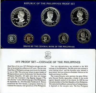 Philippines 8-Coin Proof Set 1975 In Case & 2 Silver Coins