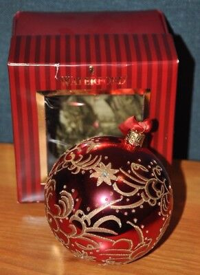 * Waterford Holiday Heirlooms Scarlet Flowers Ball Christmas Tree Ornament *