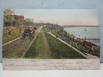 vintage 1905 postcard milwaukee whitefish bay lake front tuck & son No. 2175