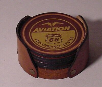 Phillips 66 AVIATION Performance Center Advertising Coasters 6 Each in Holder